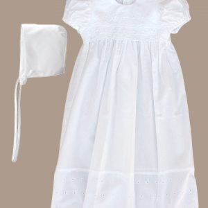 Girls White Cotton Christening Baptism Gown with Lace Border and Bonnet - One Small Child