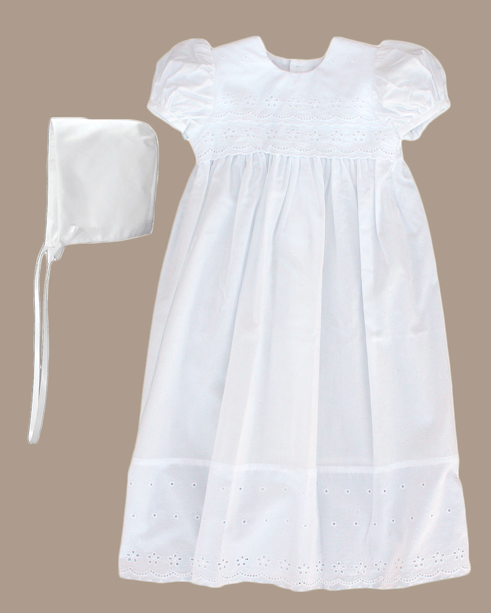 Baptismal Gown Preservation: Girls White Cotton Christening Baptism Gown With Lace