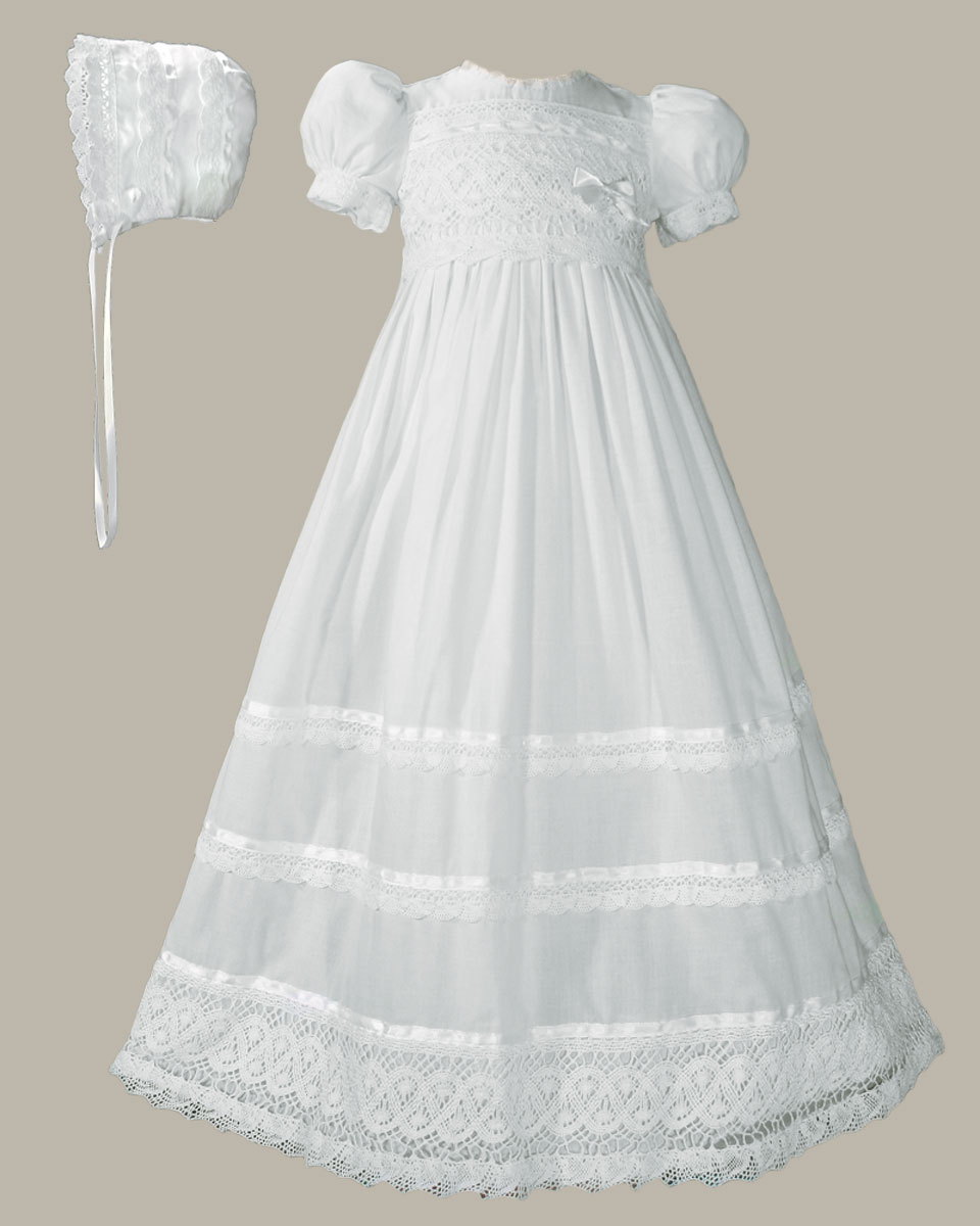 Girls Cotton Short Sleeve Dress Christening Baptism Gown with Lace ...