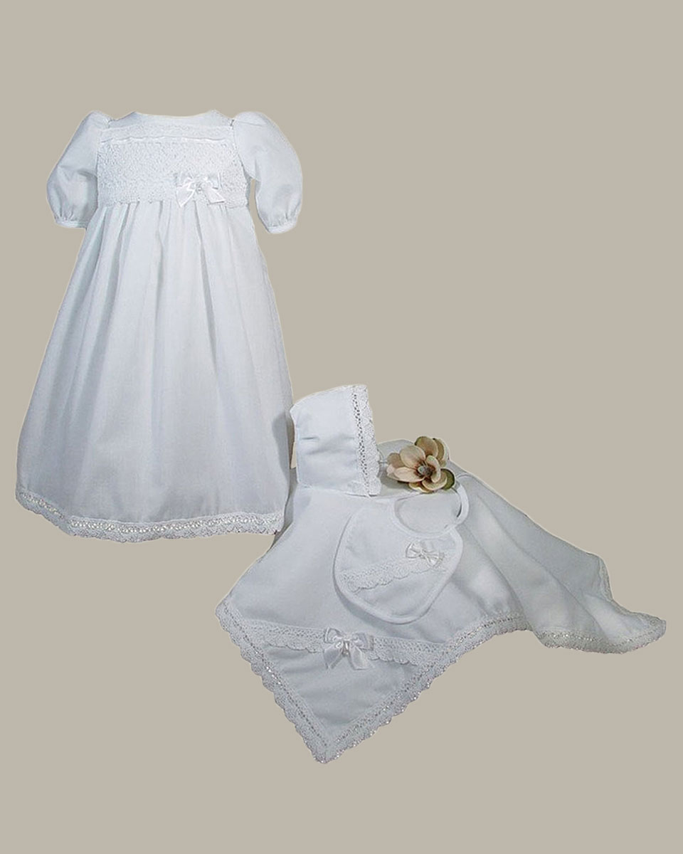 Girls Preemie Dress Christening Gown Baptism Set with Lace Hem - One ...