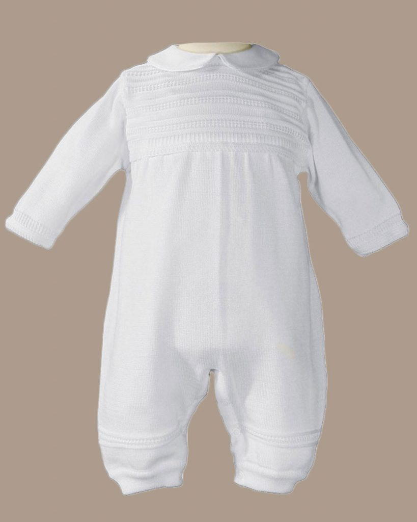 Boys Cotton Knit White Christening Baptism Coverall