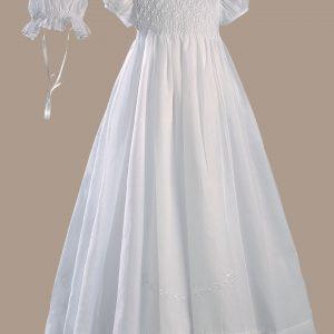 "Girls White 32"" Hand Smocked Polycotton Batiste Christening Baptism Gown"