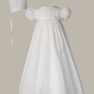 """Girls 26"""" Cotton Christening Gown with Italian Lace - One Small Child"""