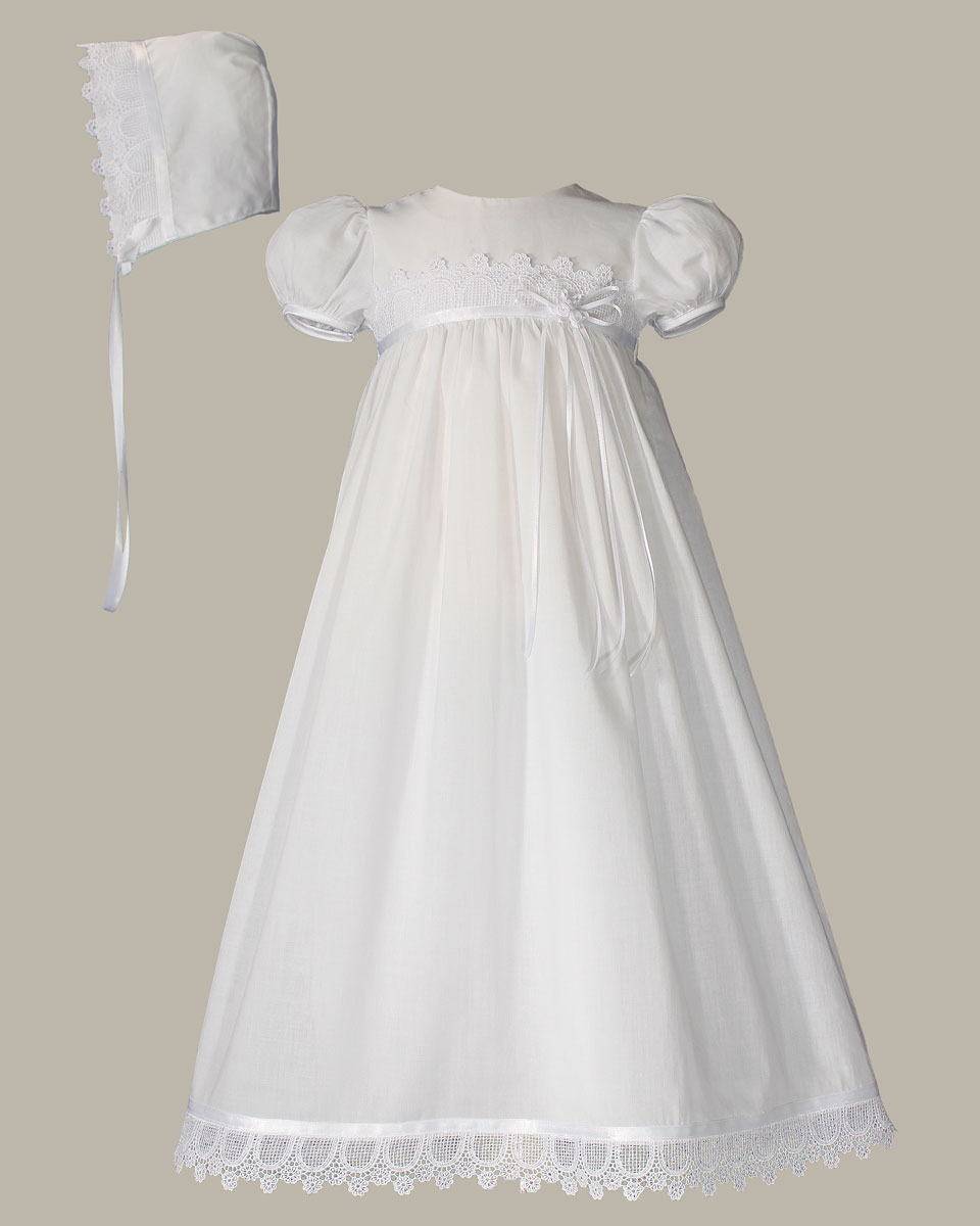 Girls 26 Cotton Christening Gown With Italian Lace