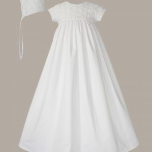 """Girls 32"""" Cotton Sateen Christening Gown with Rosette Covered Bodice - One Small Child"""