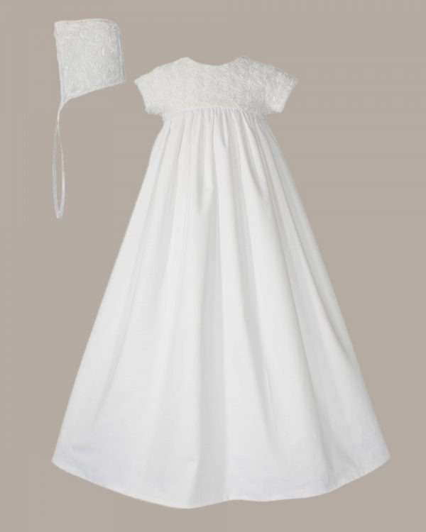 "Girls 32"" Cotton Sateen Christening Gown with Rosette Covered Bodice"