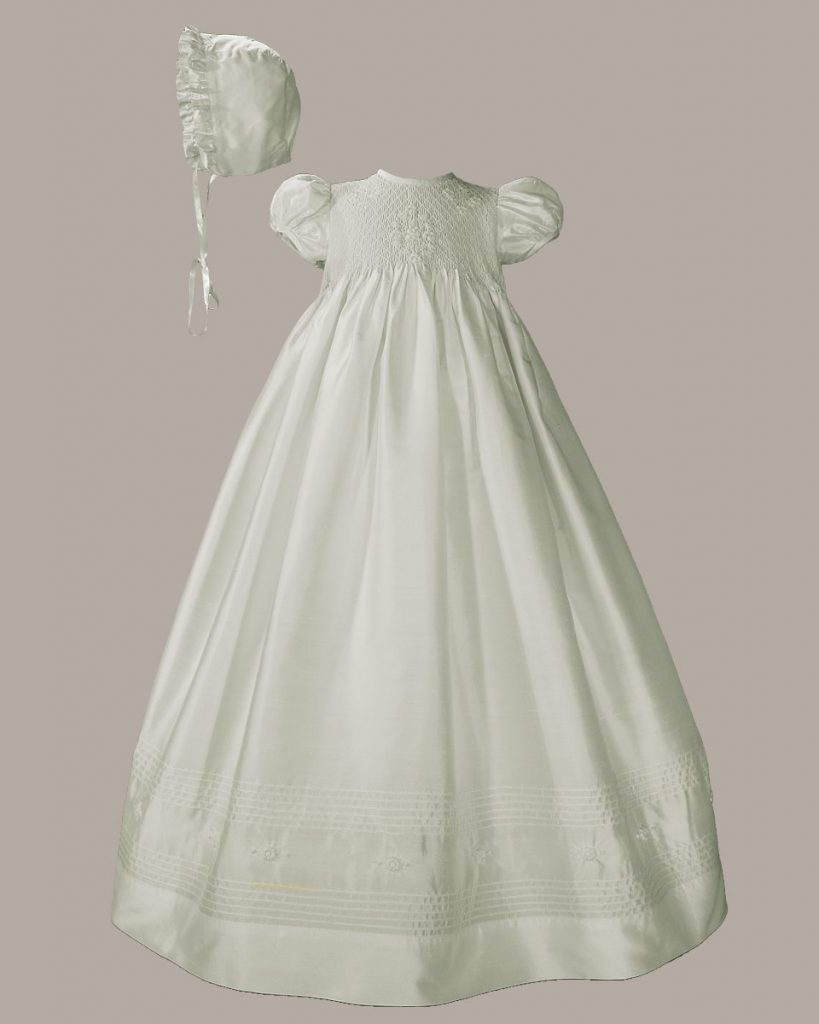 "Girls 32"" White Silk Christening Baptism Gown with Smocked Bodice"