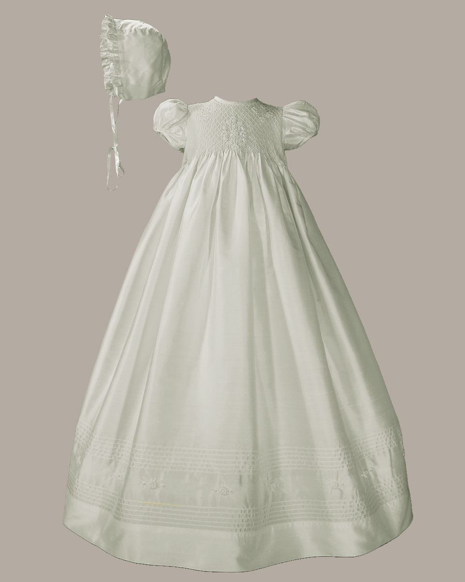 "Baptismal Gown Preservation: Girls 32"" White Silk Christening Baptism Gown With Smocked"