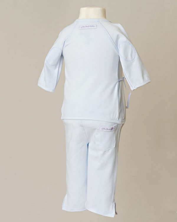 Boys Four-Piece Bamboo Layette Set in Blue or White - One Small Child