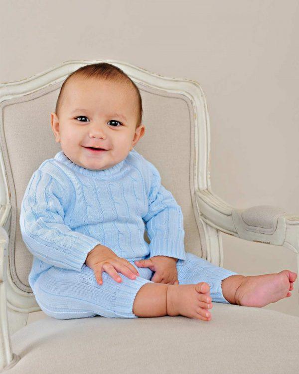 Blue Knit Jumpsuit