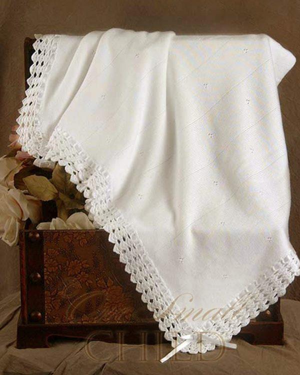 Crochet Edge Christening Blanket
