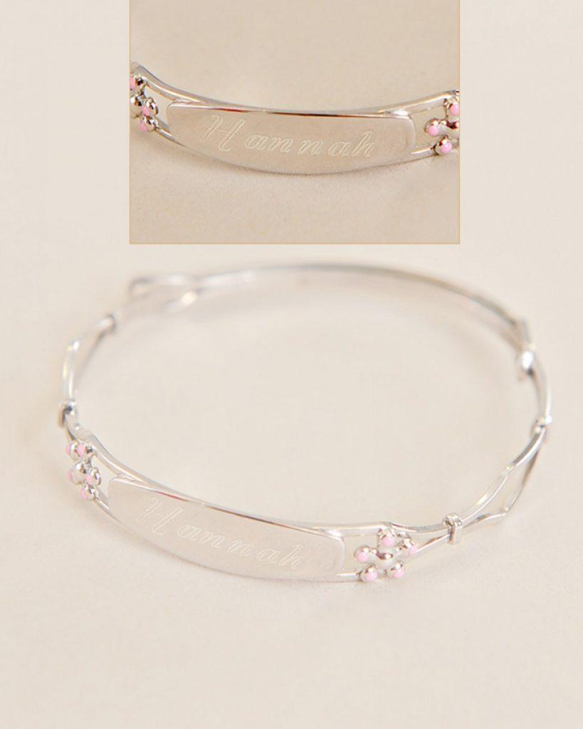 Sterling Flower Bangle Bracelet