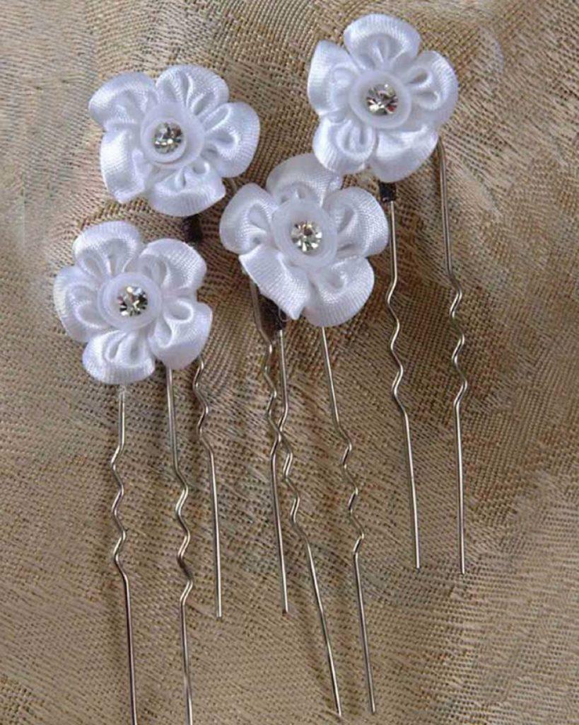 Satin Flower Hairpins