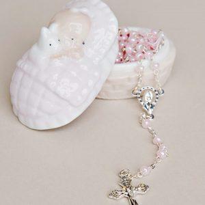 Girl Rosary & Porcelain Box Christening Gift Set