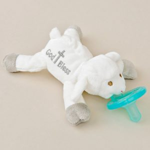 God Bless' Lamb Plush Pacifier