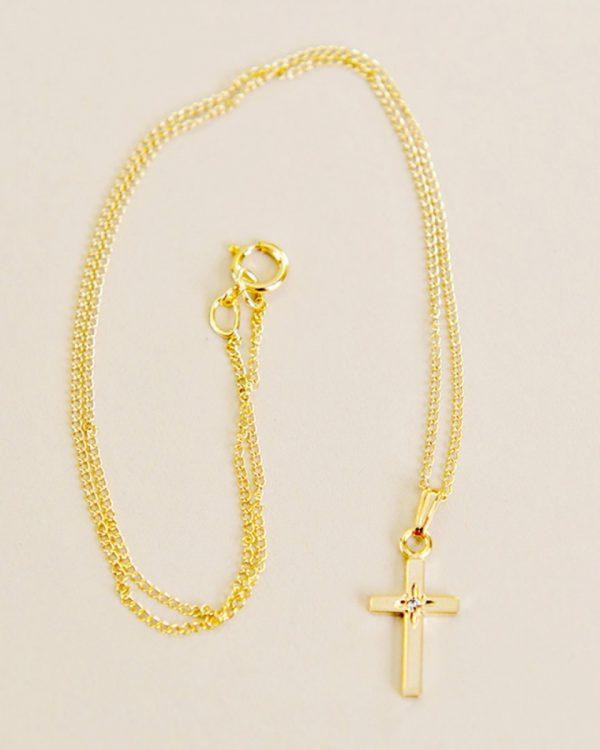 Gold Diamond Cross Necklace