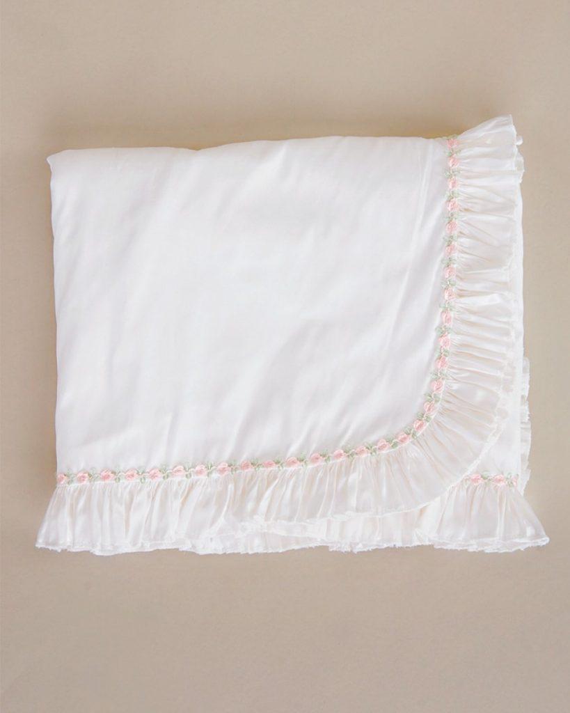 Jessa Silk Ruffle Christening Blanket