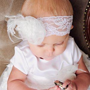 Margo Feather Christening Headband - One Small Child
