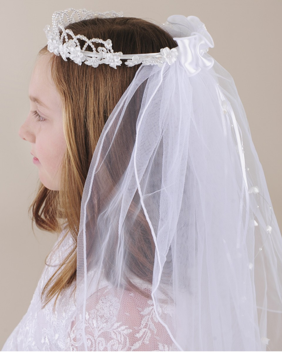 Pearl Flower Crown Veil One Small Child
