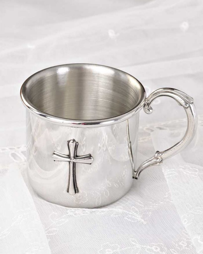 Pewter Cross Baby Cup