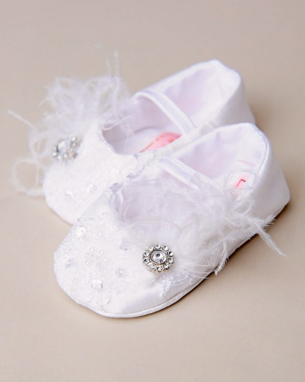 Preslee Silk and Lace Christening Slippers