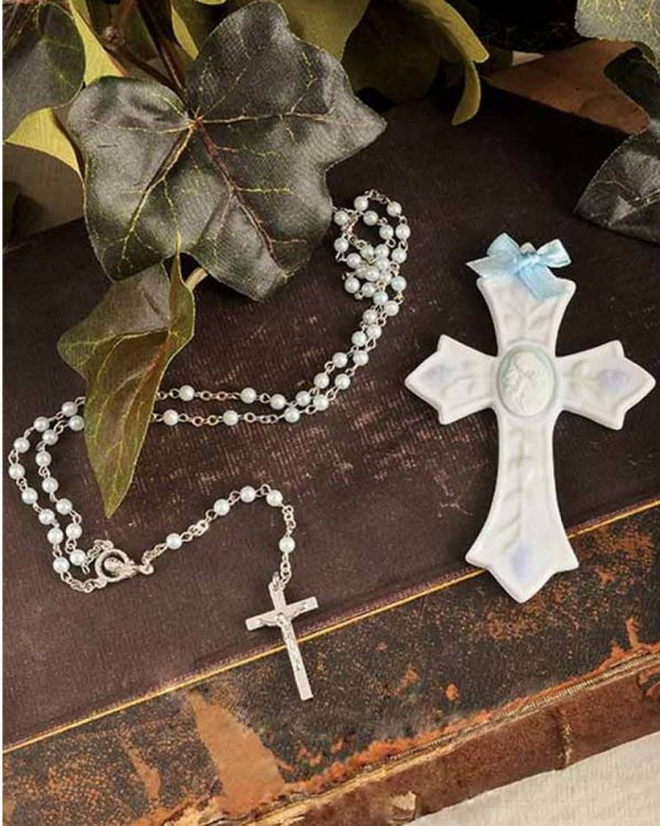 Boy Rosary & Wall Cross Christening Gift Set