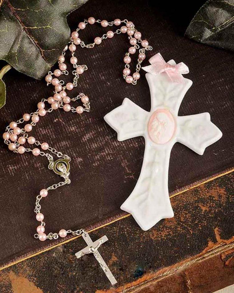 Girl Rosary & Wall Cross Christening Gift Set