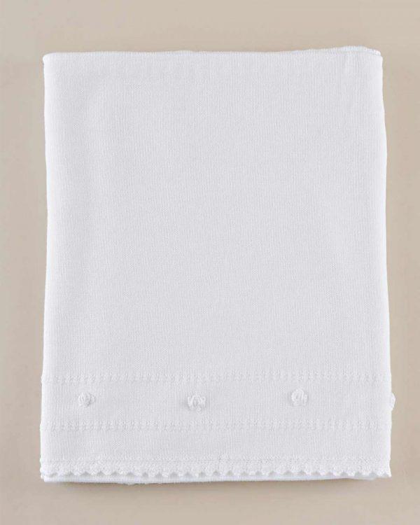 Rose Border Knit Christening Blanket