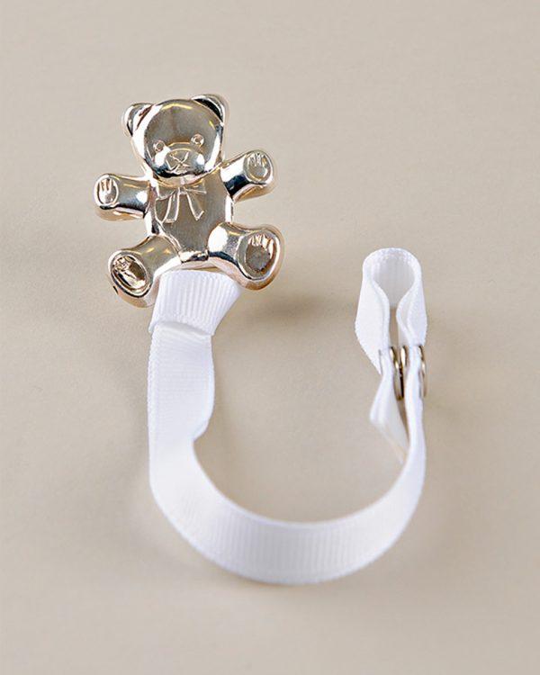 Silver Teddy Bear Pacifier Clip
