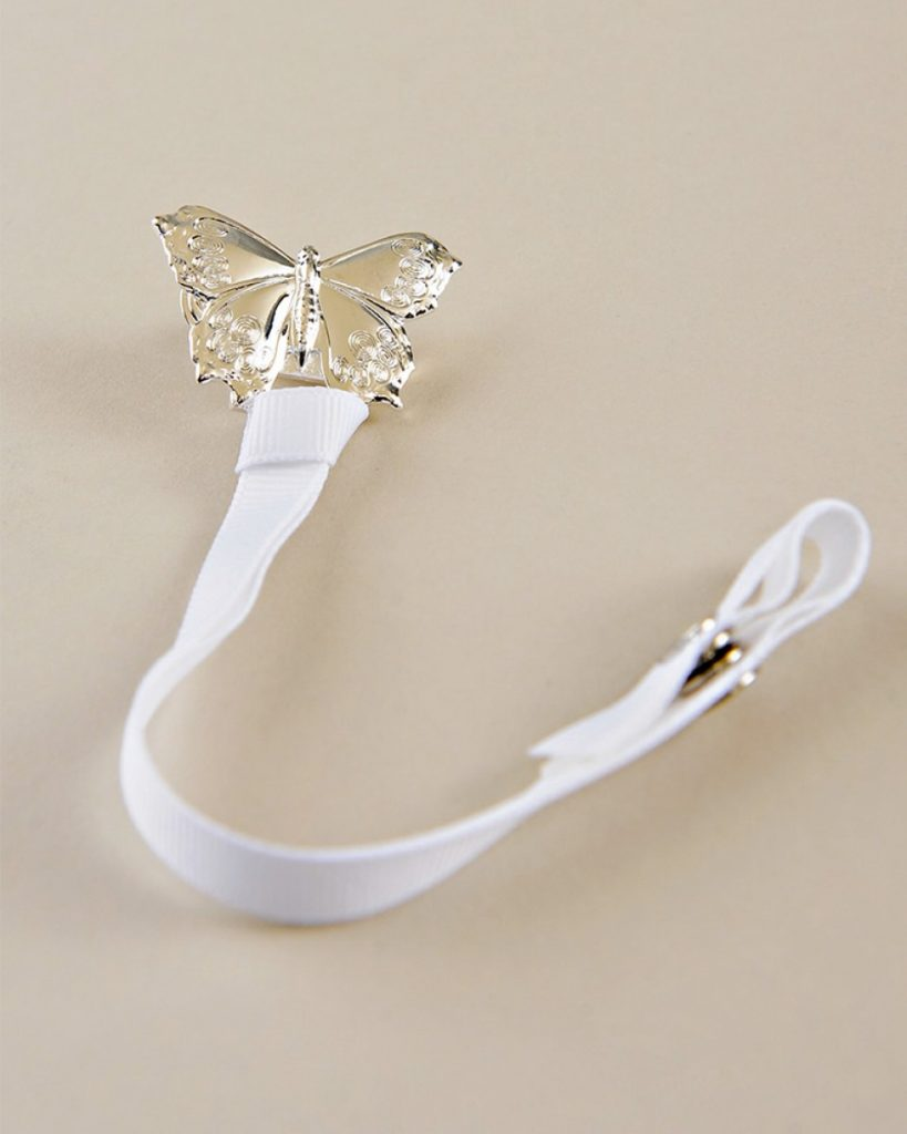 Silver Butterfly Pacifier Clip