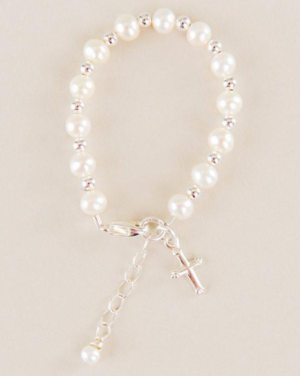 Silver & Pearl Cross Charm Bracelet