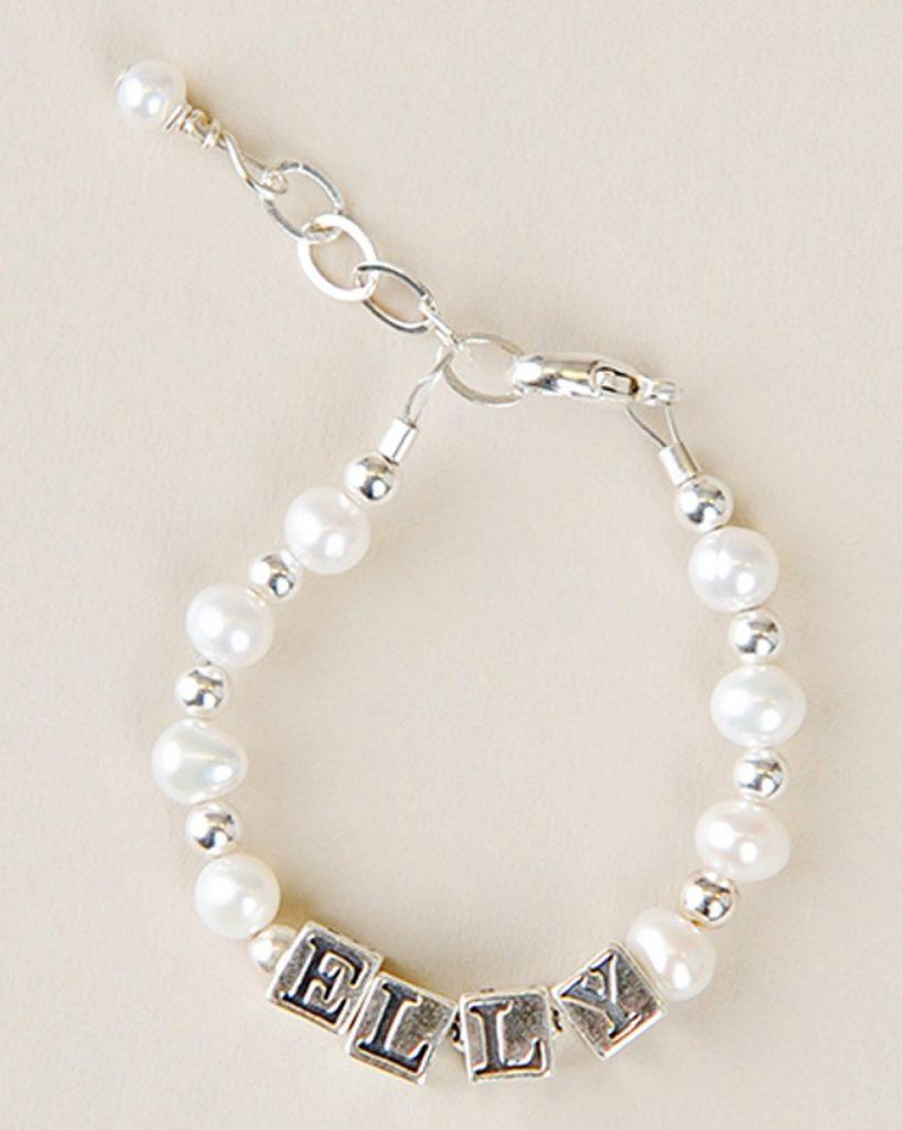 Silver & Pearl Name Bracelet