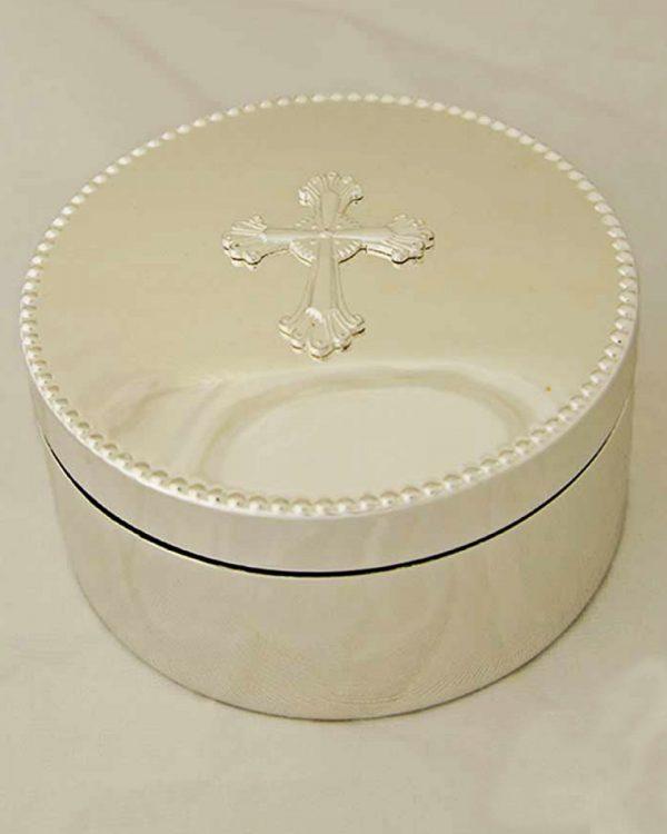 Silverplate Round Cross Box