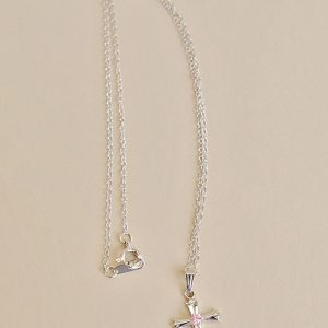 Sterling Pink CZ Cross Necklace Baby Gift