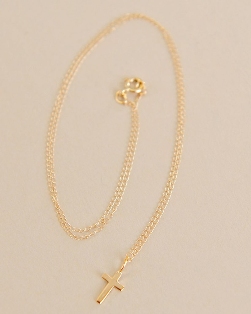 Tiny 14kt Gold Cross Baby Necklace
