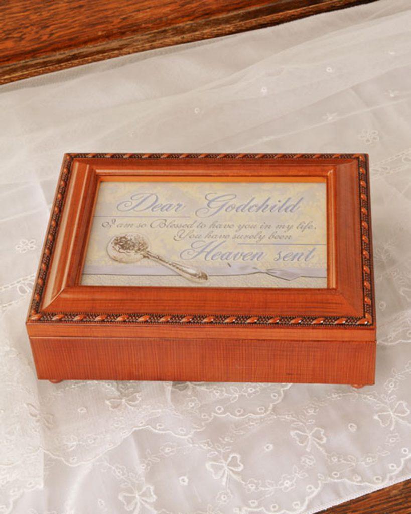 Woodgrain Godchild Photo Music Box