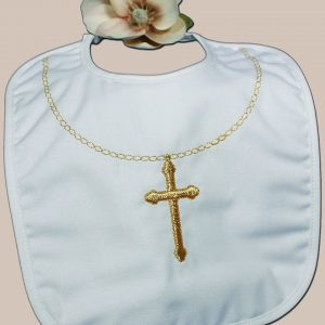 Cotton Christening Bib with Fancy Embroidered Gold Cross & Chain - One Small Child