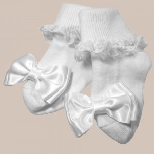 Girls Cotton Special Occasion Socks with Lace and Bow