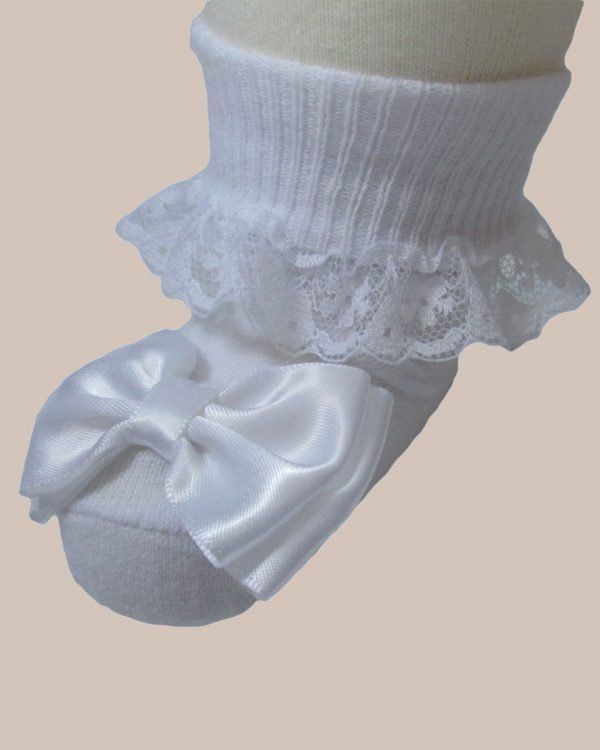 Girls Cotton Special Occasion Socks with Lace and Bow - One Small Child