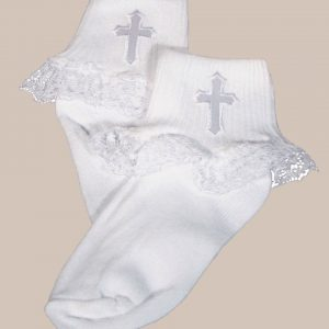 Girls White Anklet Socks with Embroidered Cross Applique and Lace