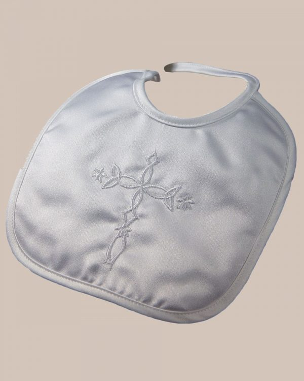 Matte Satin Christening Bib with Embroidered Celtic Cross - One Small Child