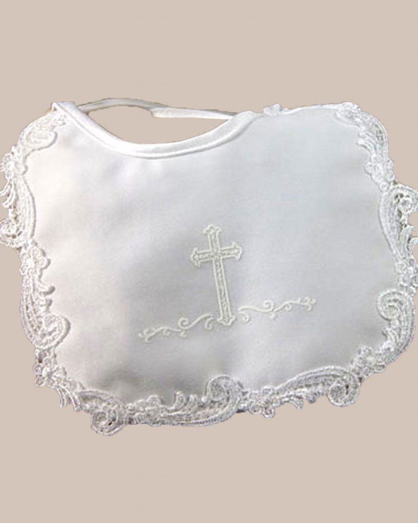 Girls Matte Satin Bib with Screened Cross