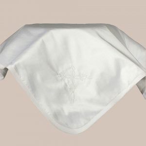 Silk Dupioni Blanket with Embroidered Cross - One Small Child