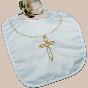 Cotton Christening Bib with Fancy Embroidered Gold Chain and Ornate Cross - One Small Child