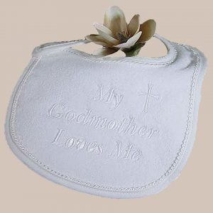 """Terry Velour """"My Godmother Loves Me"""" Bib - One Small Child"""