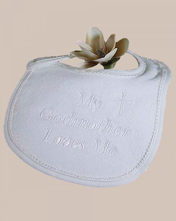 "Terry Velour ""My Godmother Loves Me"" Bib"