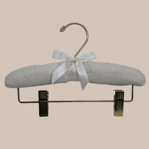 """10"""" Muslin Hanger with Gold Hook and Pant Clips - One Small Child"""