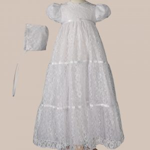 "Girls 29"" Layered All Over Lace Christening Special Occasion Gown"