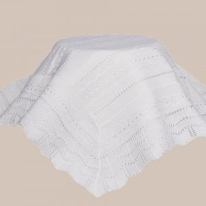 White Knit Baby Christening Shawl for Baptism - One Small Child
