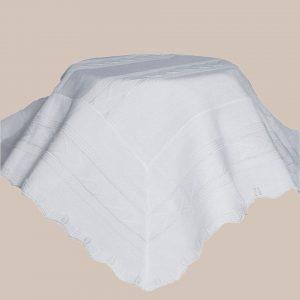 White Knit Baby Baptism Shawl - One Small Child